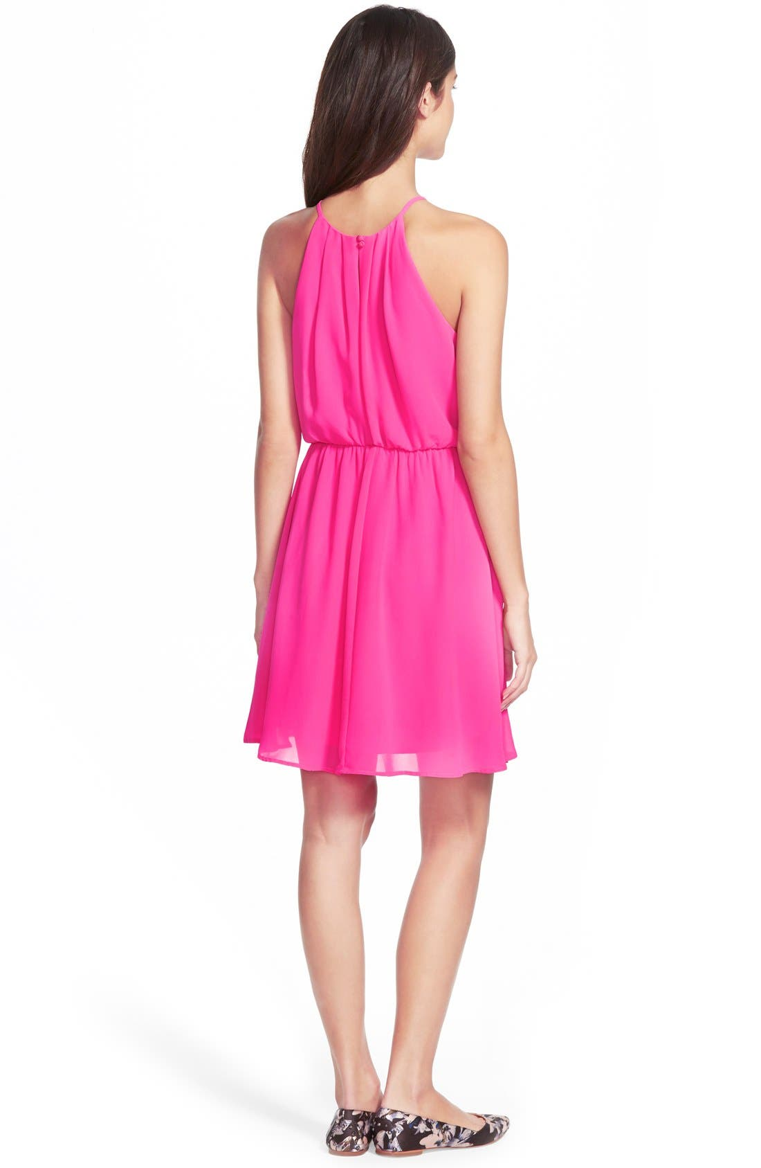 ,                             Blouson Chiffon Skater Dress,                             Alternate thumbnail 206, color,                             656