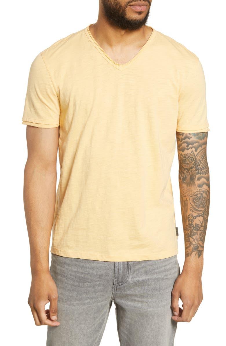 JOHN VARVATOS STAR USA Slub V-Neck T-Shirt, Main, color, ORANGE SHERBERT