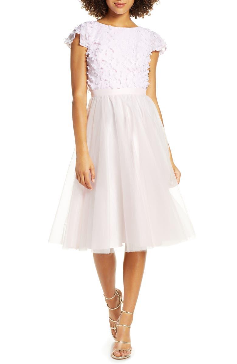 CHI CHI LONDON Marinela Floral Appliqué Party Dress, Main, color, 650