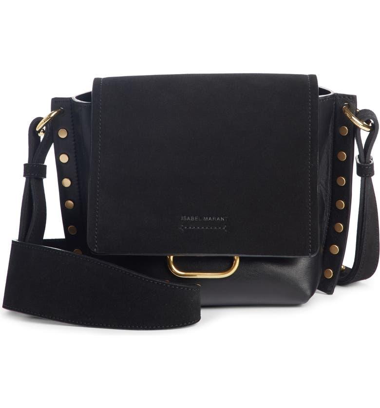 ISABEL MARANT Kleny Leather Shoulder Bag, Main, color, 001