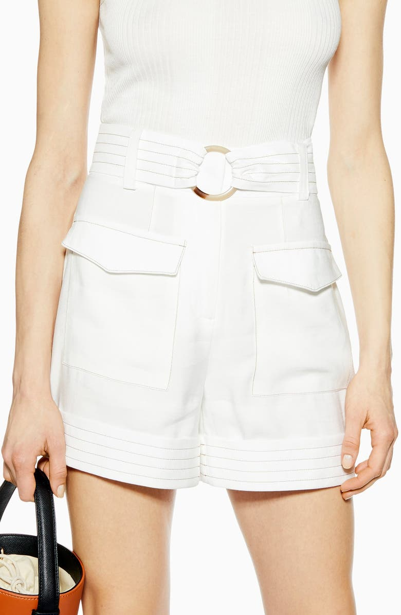TOPSHOP Betty Satin Utility Shorts, Main, color, IVORY