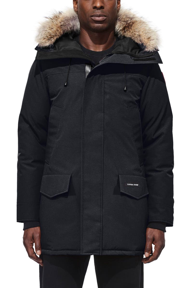 CANADA GOOSE Langford Slim Fit Down Parka with Genuine Coyote Fur Trim, Main, color, NAVY