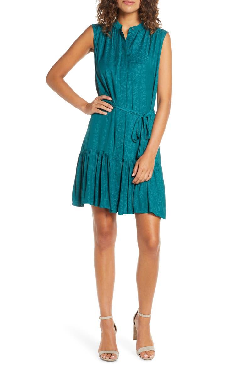 CHARLES HENRY Sleeveless Ruffle Hem Dress, Main, color, 440