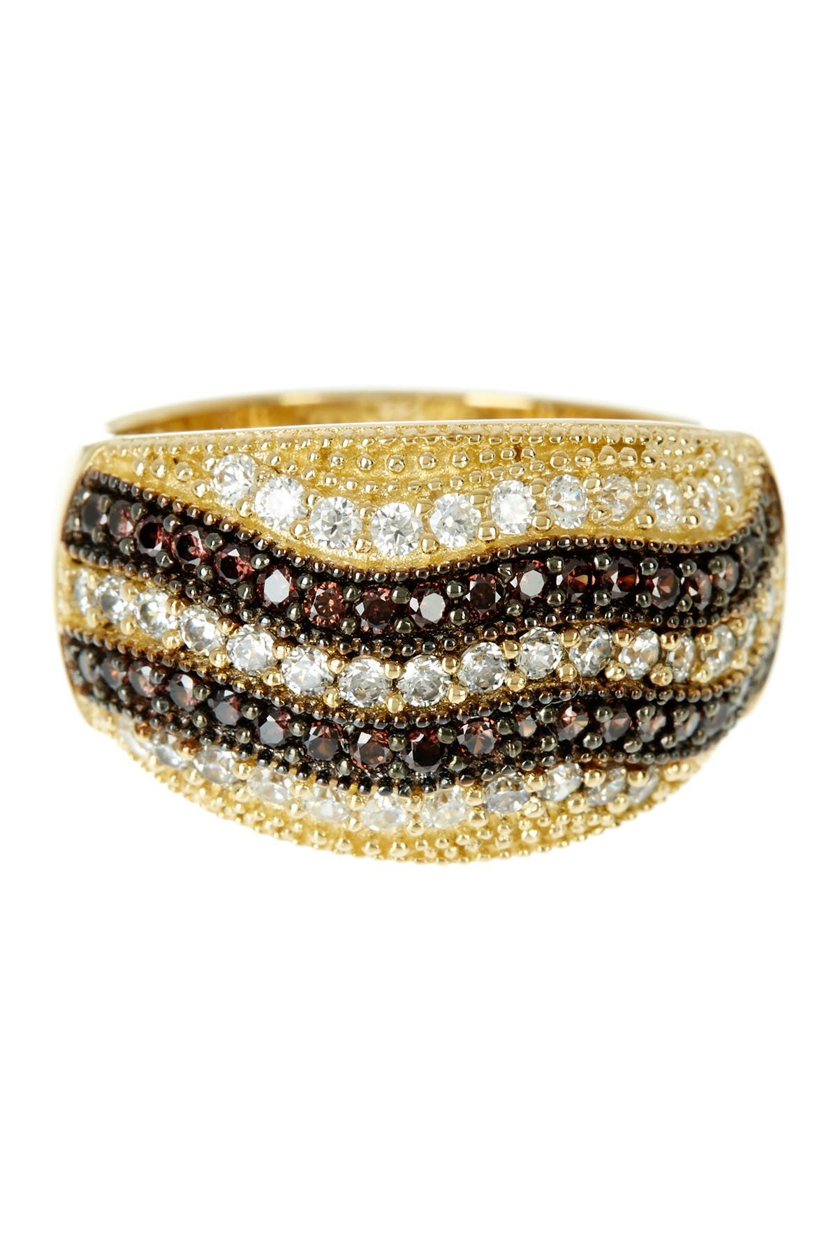 Image of Suzy Levian 14K Gold Plated Sterling Silver Striped Chocolate CZ Ring