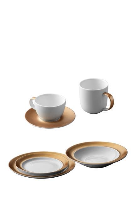 Image of BergHOFF Gem Dinnerware 6-Piece White & Gold Place Setting