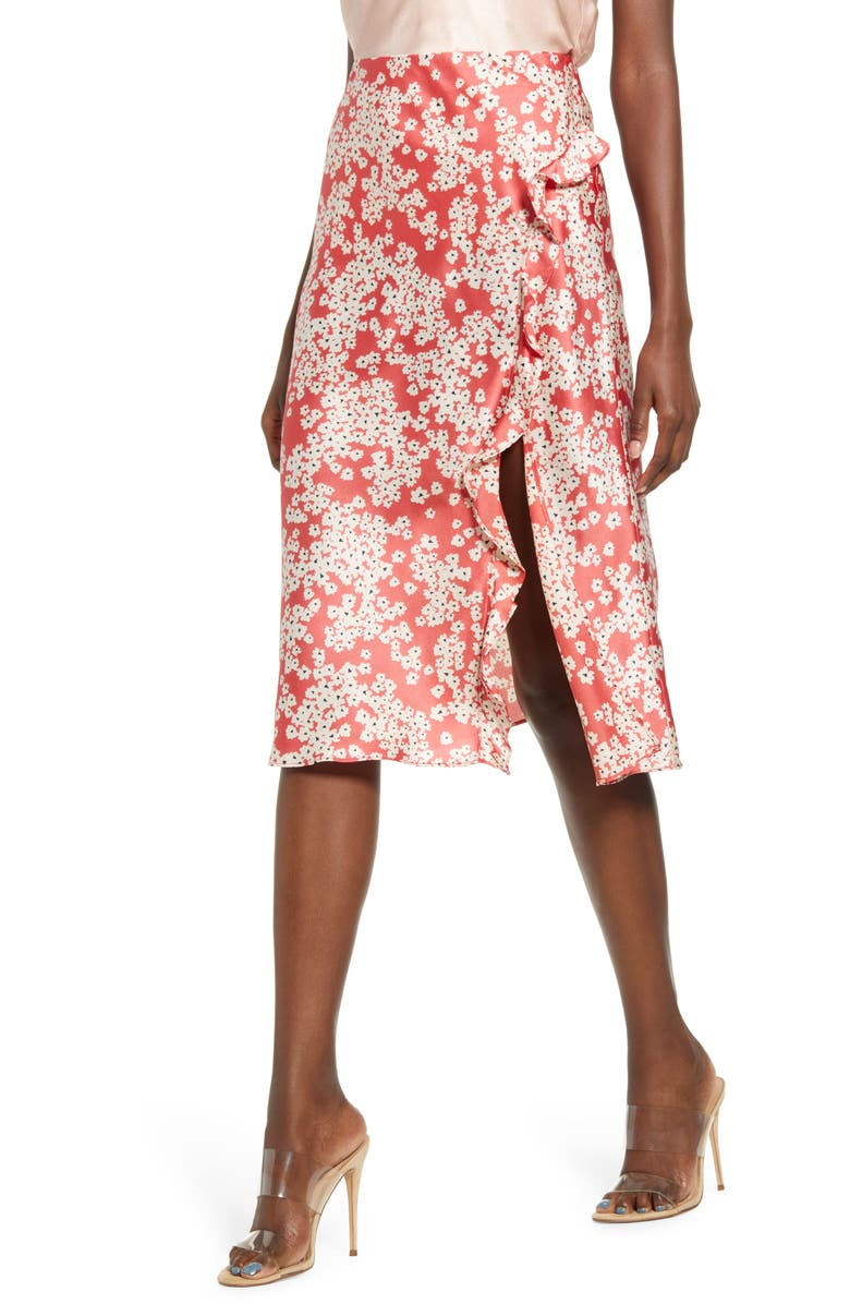 SOCIALITE Floral Ruffle Slit Skirt, Main, color, RED TAN FLORAL