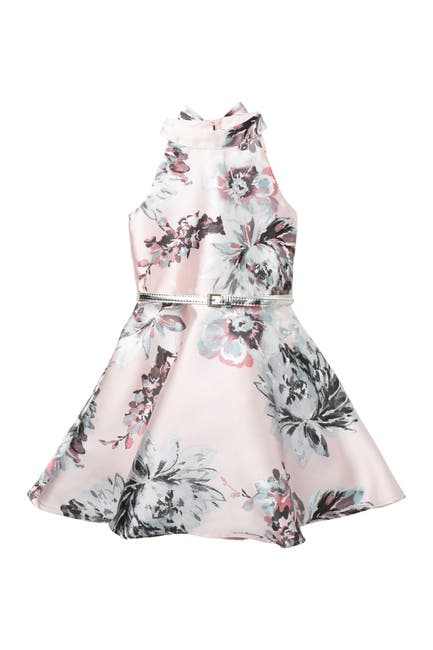Image of Zunie Shantung Floral Fit N Flare Dress