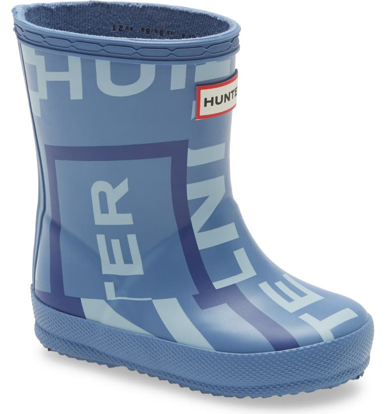 HUNTER First Classic Exploded Logo Rain Boot, Main, color, GILL WAVE