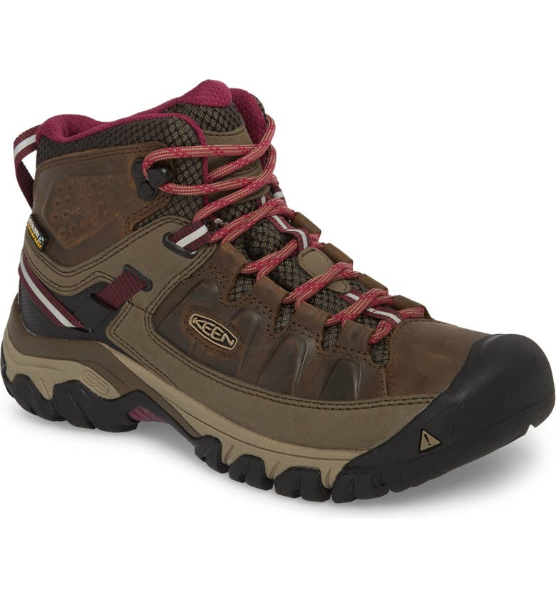 KEEN Targhee III Mid Waterproof Hiking Boot, Main, color, WEISS/ BOYSENBERRY LEATHER