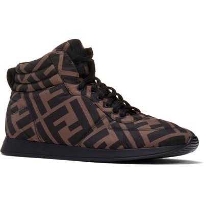 Fendi Ff High Top Sneaker, Brown