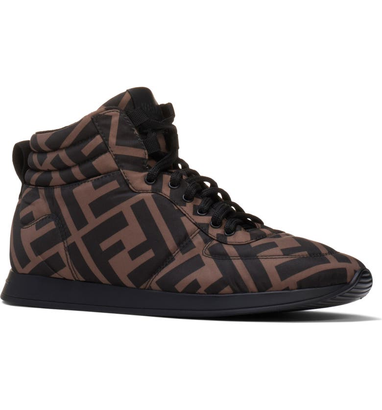FENDI FF High Top Sneaker, Main, color, TOBACCO NERO