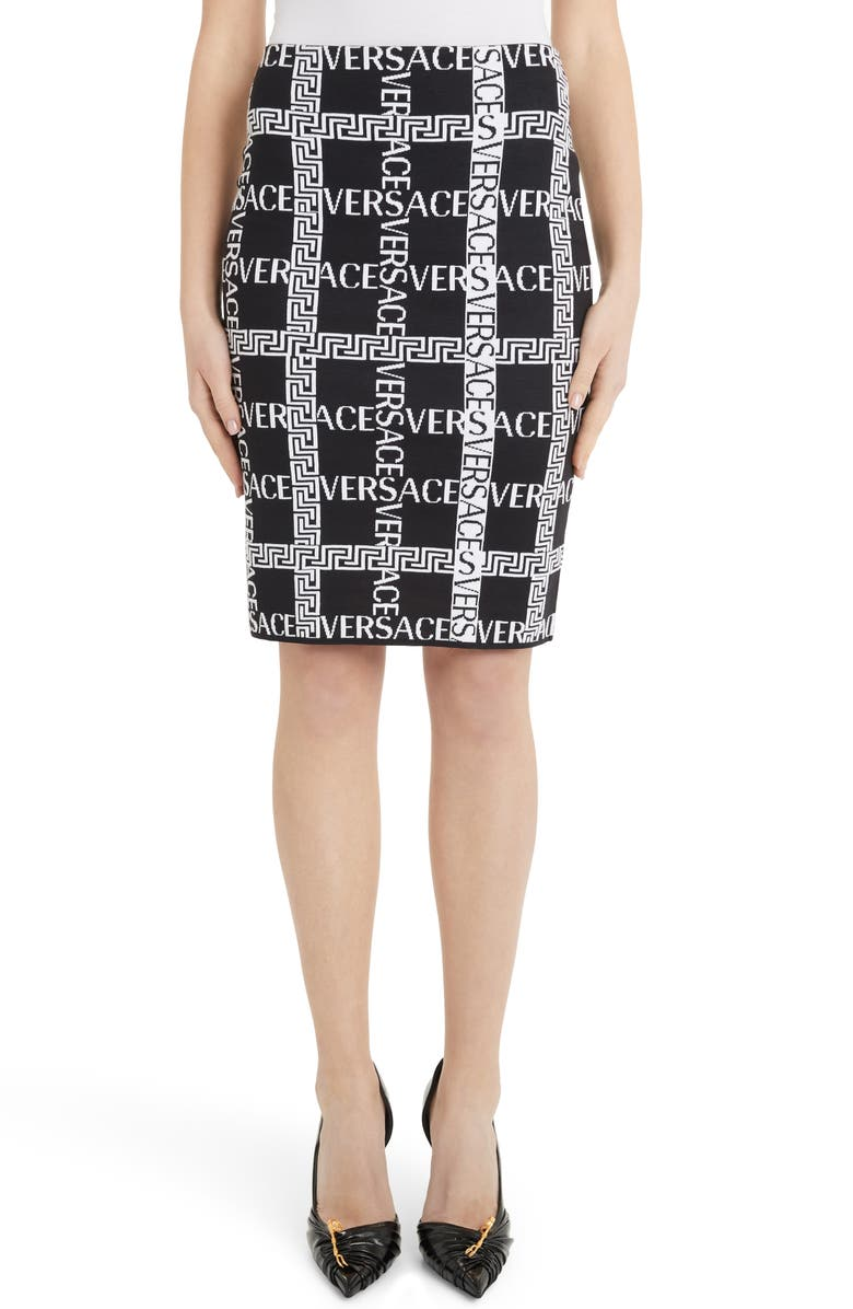 VERSACE Logo Grid Knit Pencil Skirt, Main, color, BLACK/ WHITE