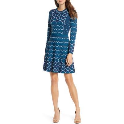 Eliza J Fit & Flare Long Sleeve Sweater Dress, Blue/green