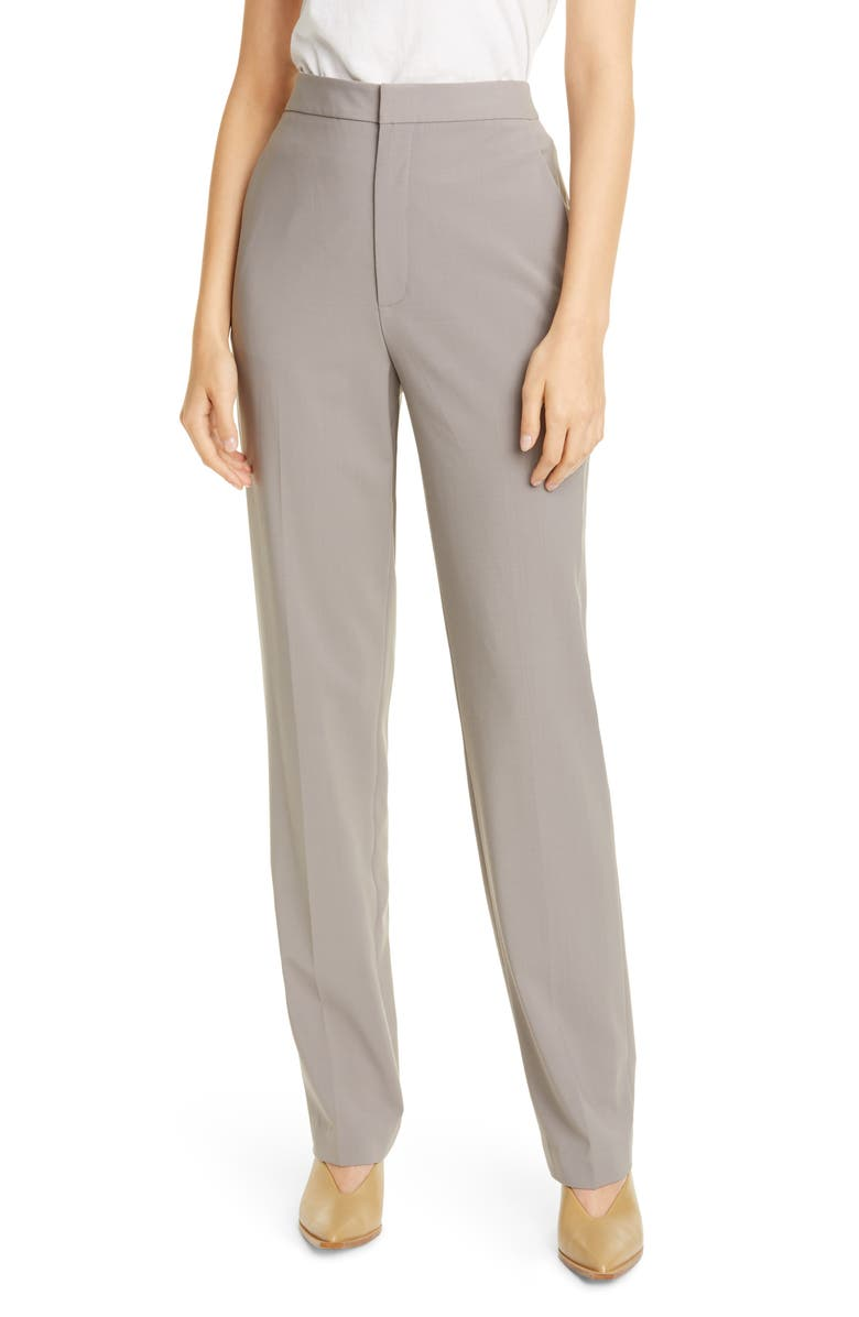 TIBI Sebastian High Waist Tropical Suiting Pants, Main, color, CEMENT