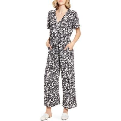 Caslon Floral Crepe Jumpsuit, Black