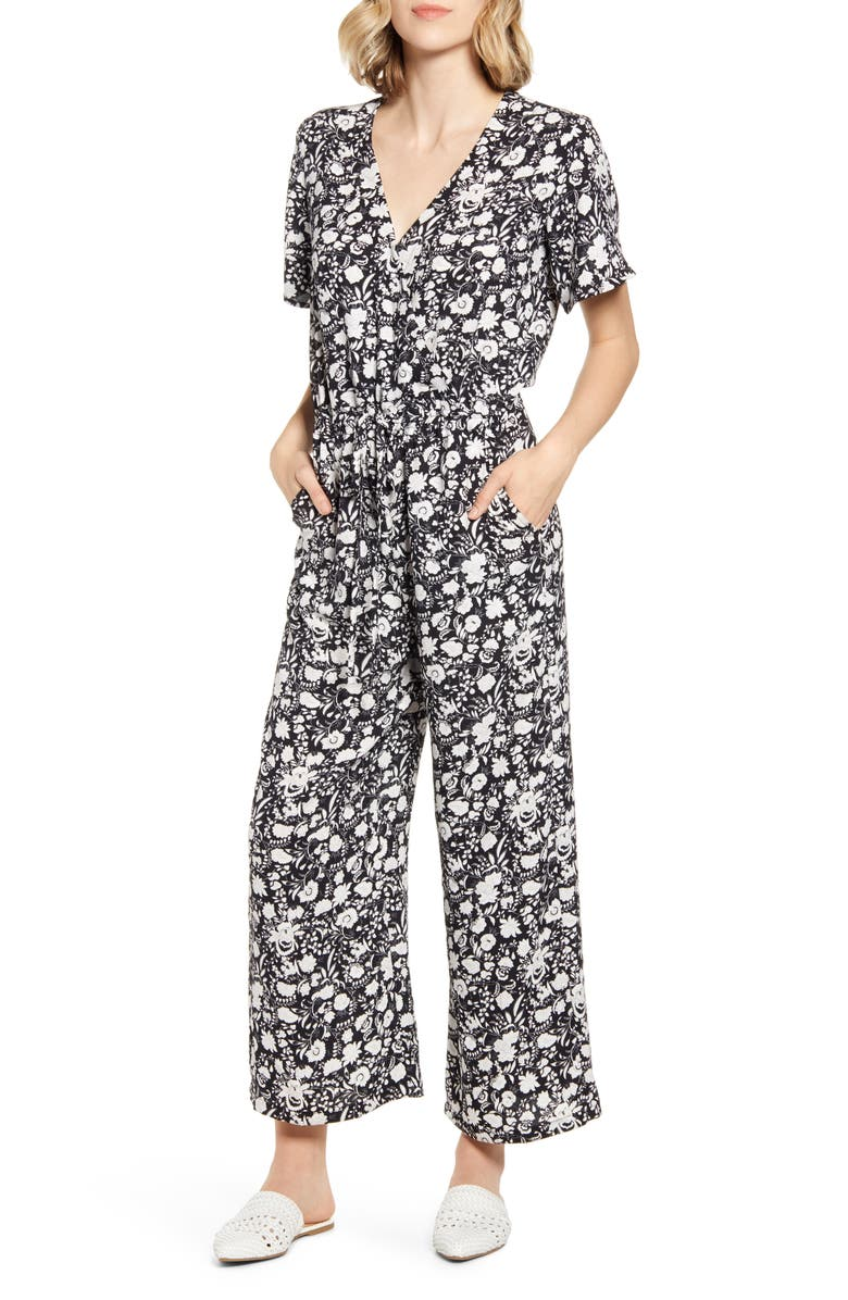 CASLON<SUP>®</SUP> Floral Crepe Jumpsuit, Main, color, 001