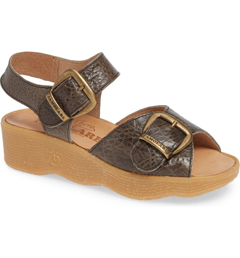 FAMOLARE Double Play Platform Sandal, Main, color, STEEL SUEDE