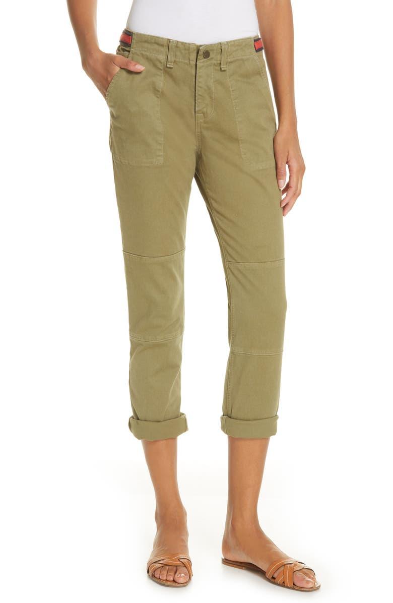 VERONICA BEARD Adrina Tab Waist Cuffed Twill Pants, Main, color, 300