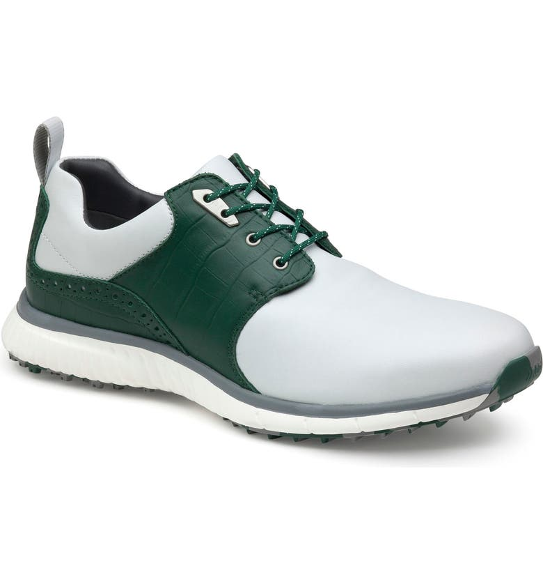 JOHNSTON & MURPHY XC4<sup>®</sup> H2 Luxe Hybrid Waterproof Golf Saddle Sneaker, Main, color, WHITE/ GREEN CROC