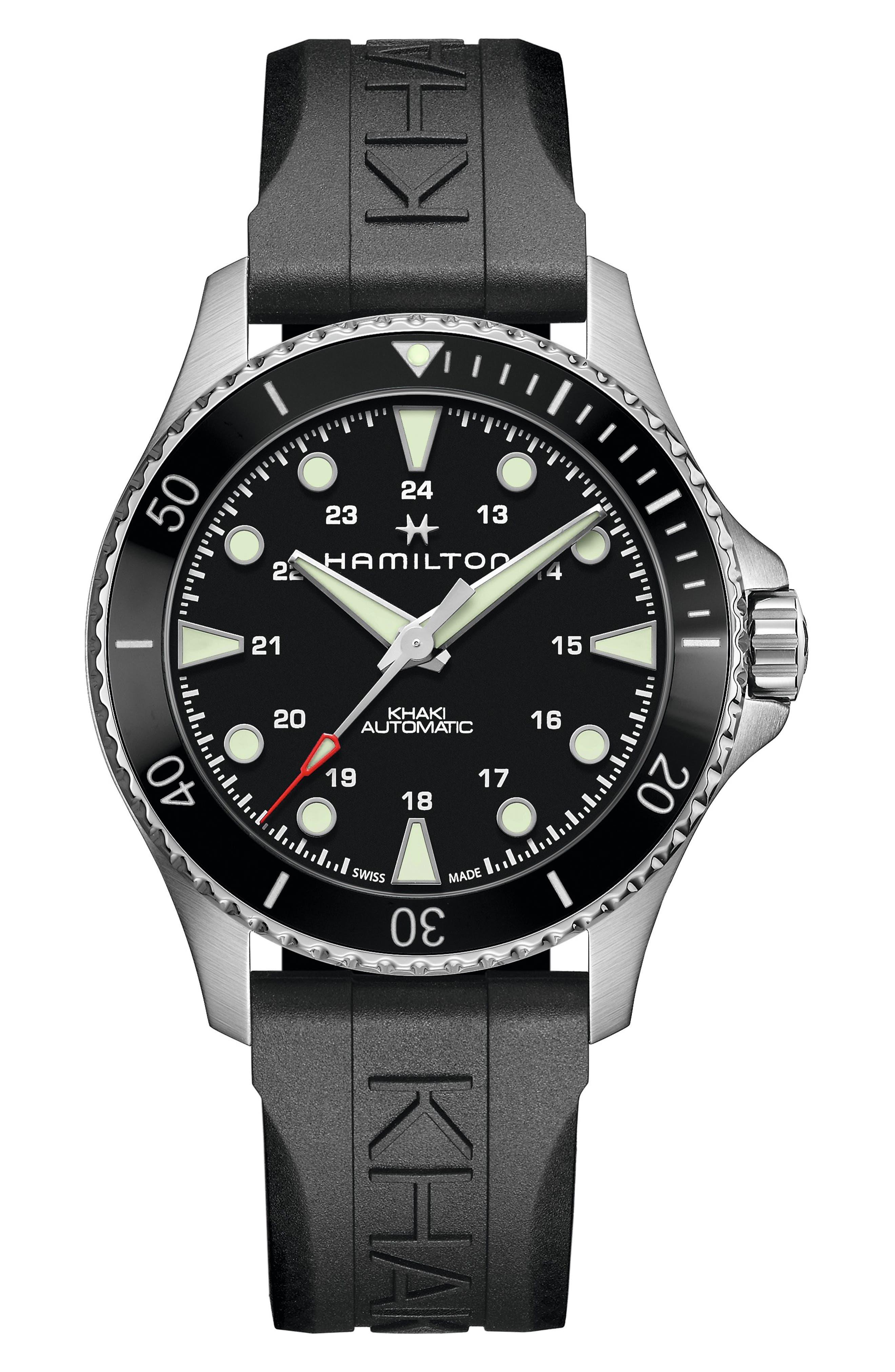 Khaki Navy Scuba Automatic Rubber Strap Watch