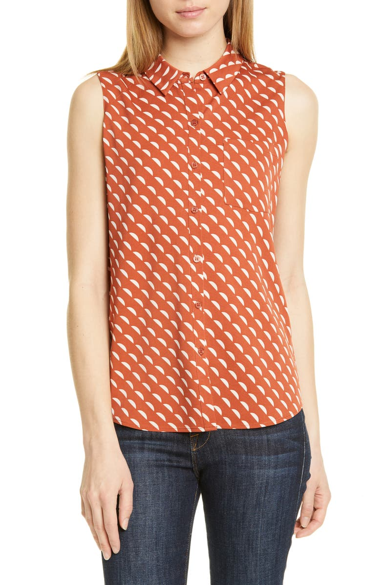 NORDSTROM SIGNATURE Sleeveless Stretch Silk Shirt, Main, color, RUST CINNABAR CRESCENT GEO