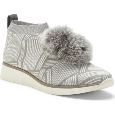 Louise Et Cie Buffie Sneaker With Genuine Rabbit Fur Trim- Grey