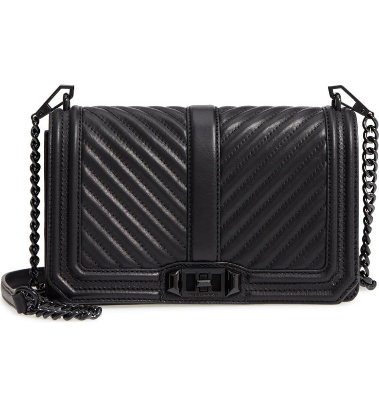 REBECCA MINKOFF 'Chevron Quilted Love' Crossbody Bag, Main, color, BLACK
