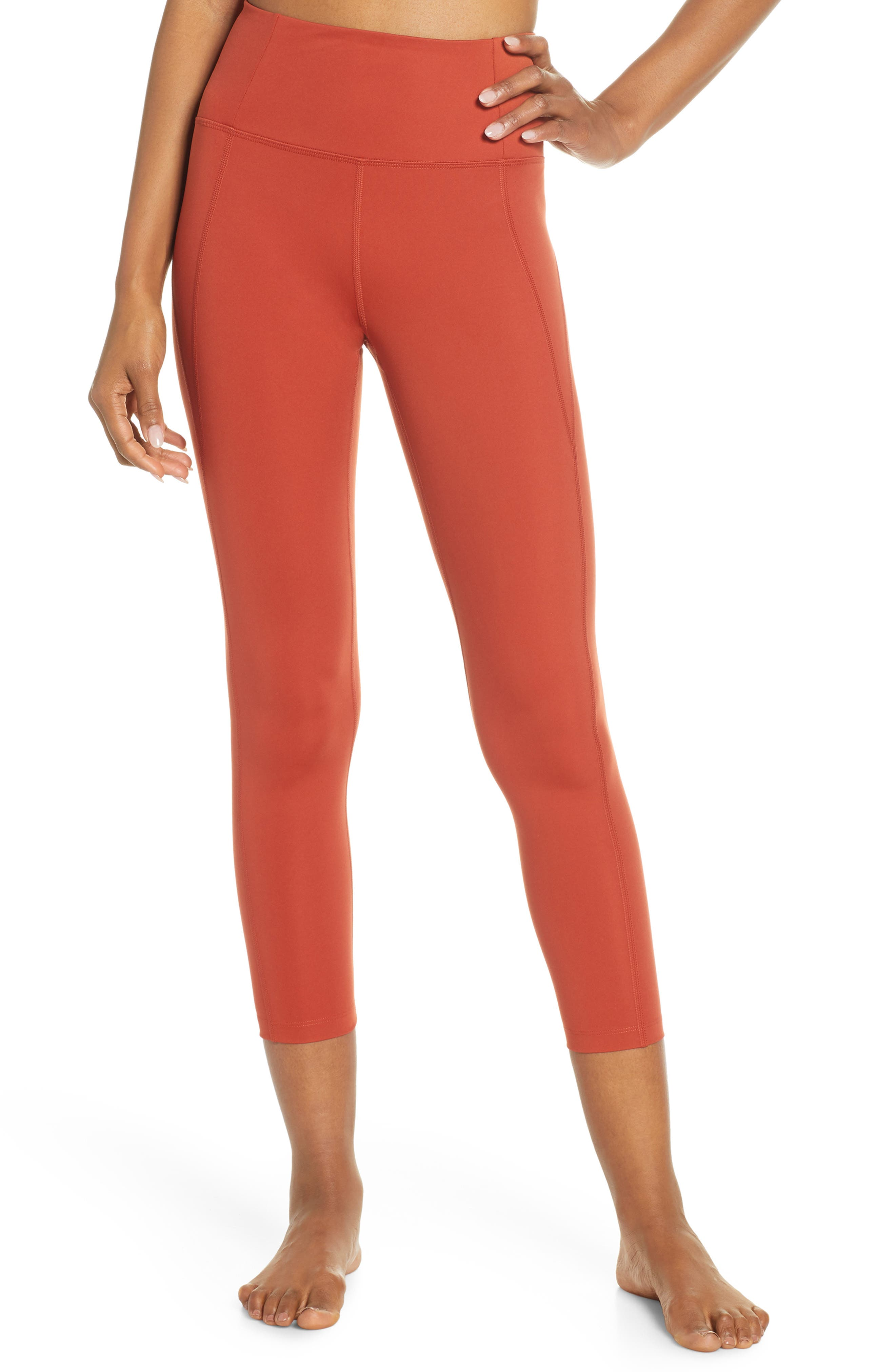 Girlfriend Collective High Waist 7/8 Leggings, Red
