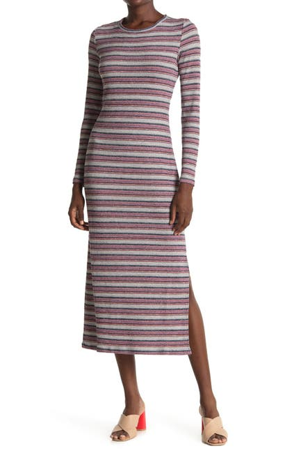 Image of 1.State Striped Long Sleeve Rib Knit Midi Dress