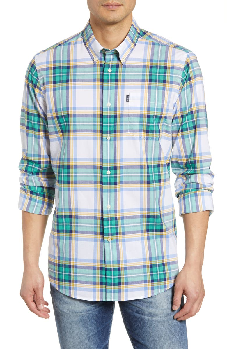 BARBOUR Tailored Fit Highland Plaid Shirt, Main, color, WHITE