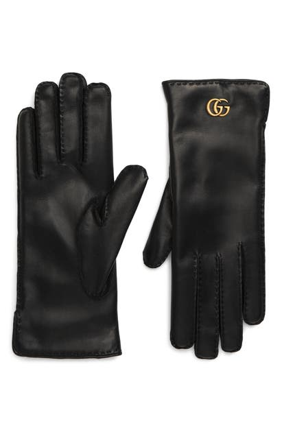 Gucci Leather Gloves W/ Gg Hardware In Black/ Green/ Red
