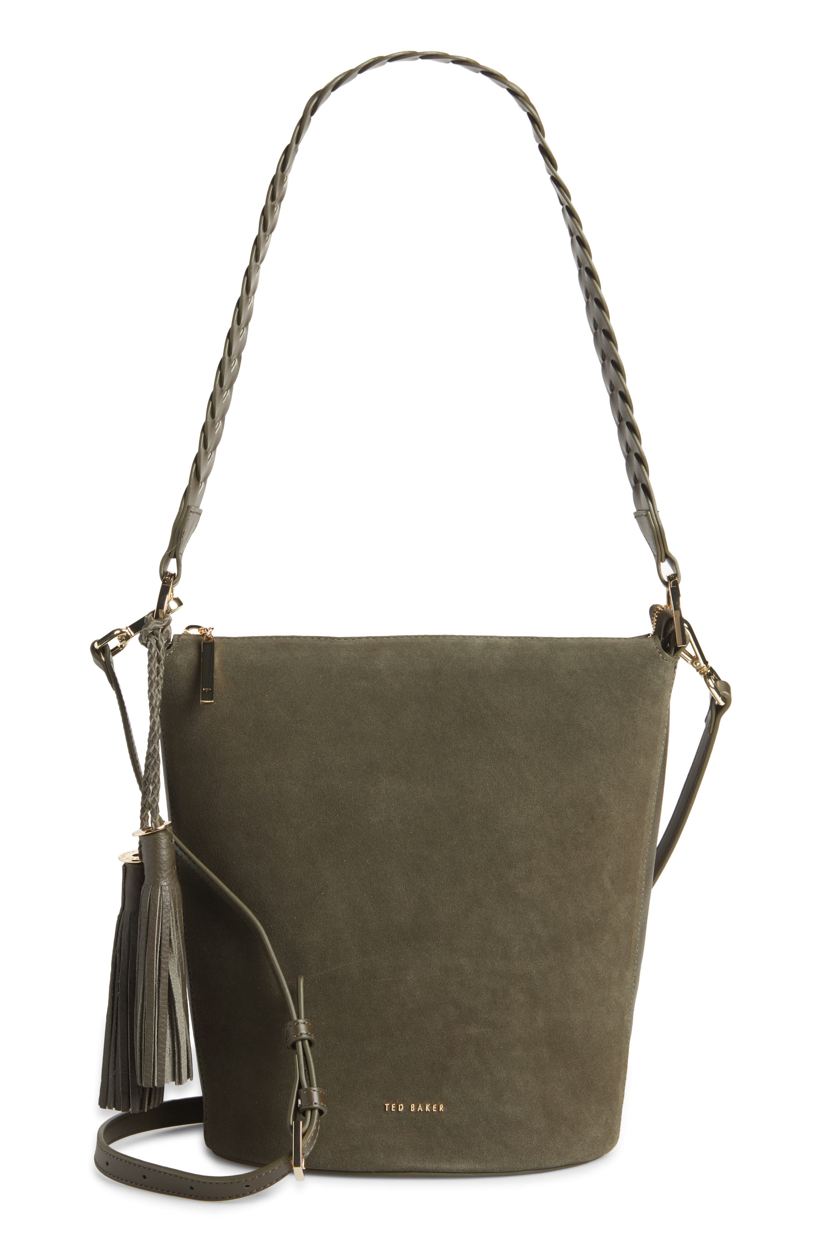 Minimalist and perfect for everyday wear, this bucket bag is outfitted with a pretty braided shoulder strap and tassel detailing. Style Name: Ted Baker London Rojin Leather Bucket Bag. Style Number: 6086681. Available in stores.