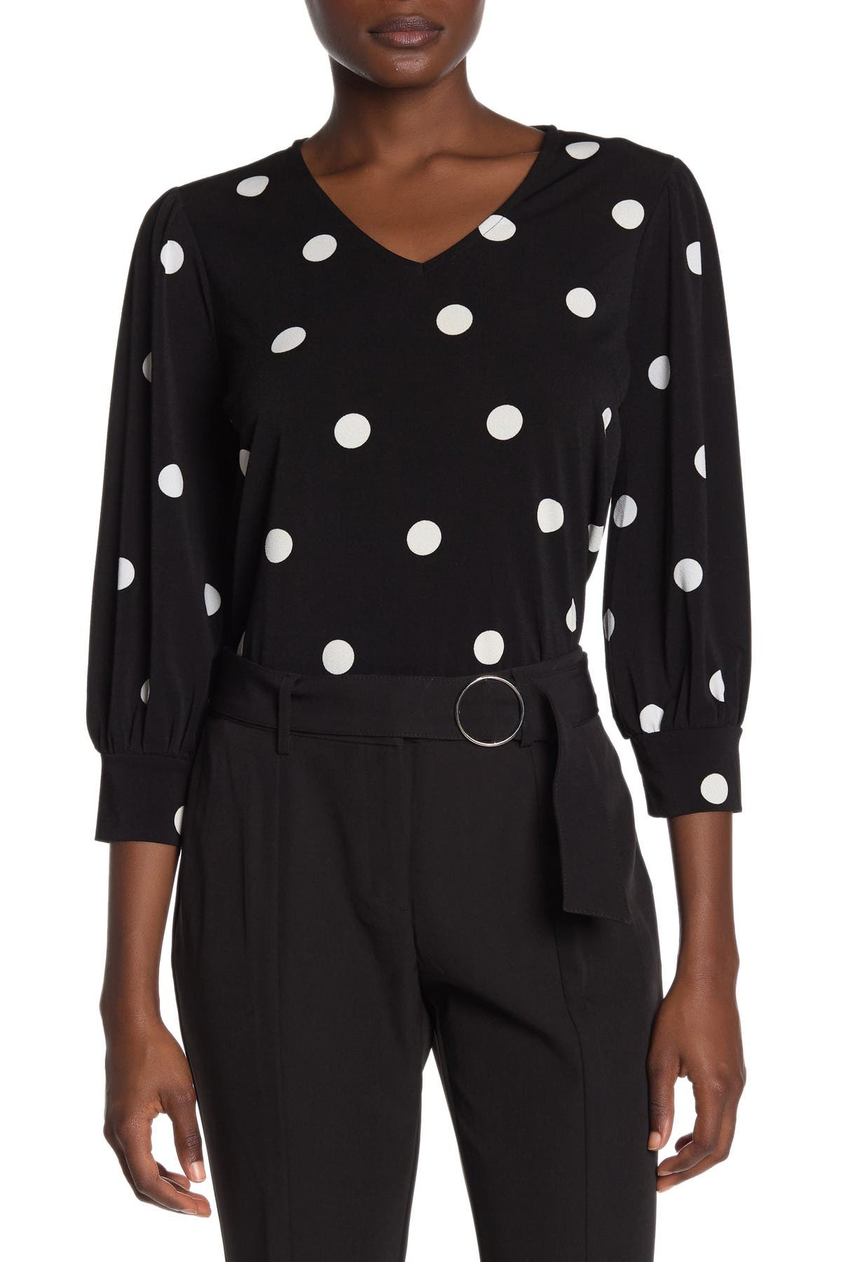 Image of Adrianna Papell V-Neck 3/4 Sleeve Blouse