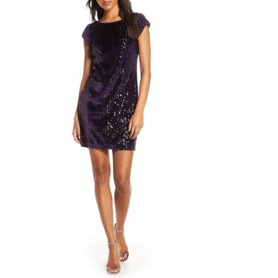 Eliza J Sparkle Sequin Cocktail Minidress, Purple