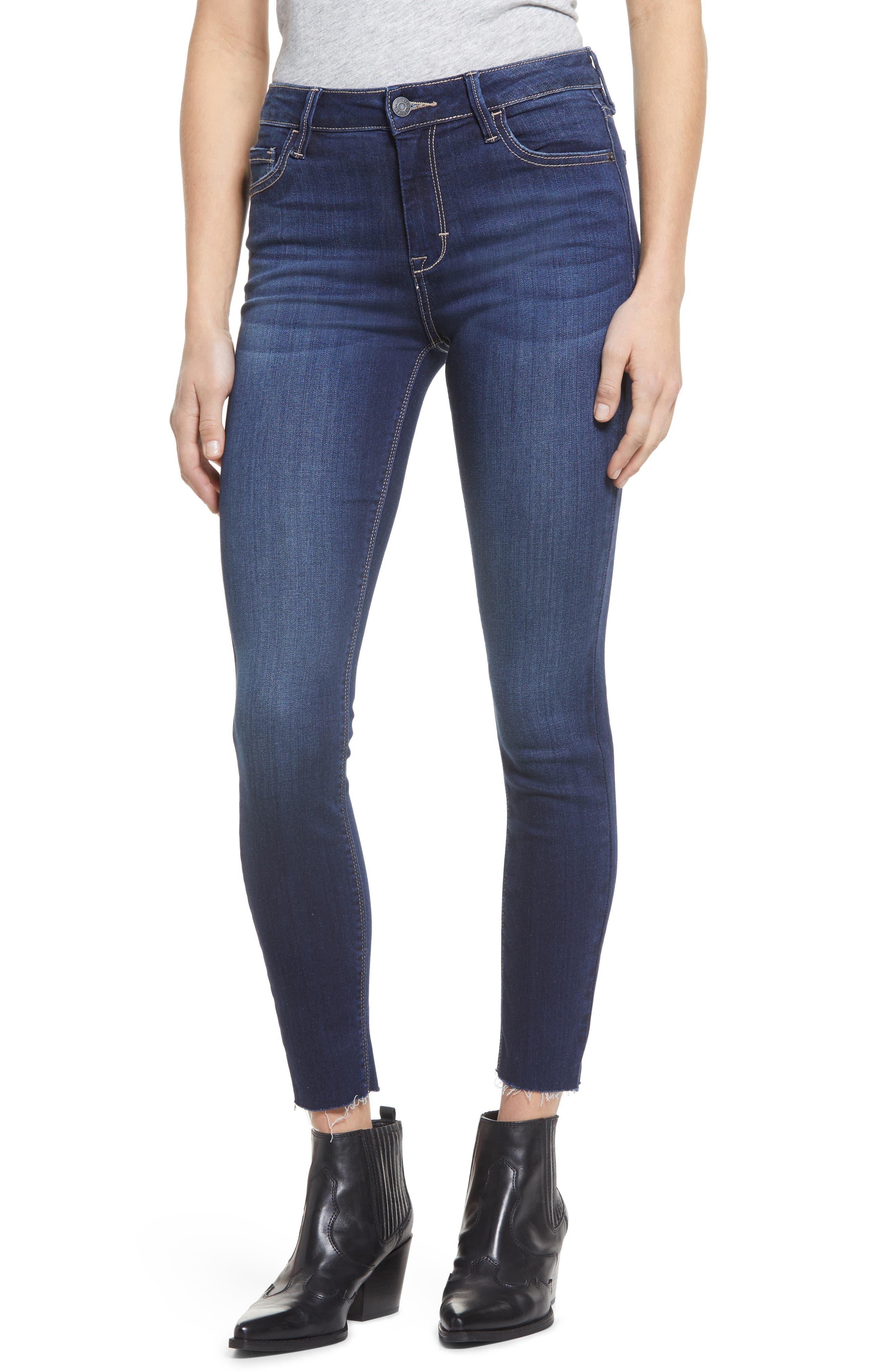 Raw Hem Stretch Ankle Skinny Jeans