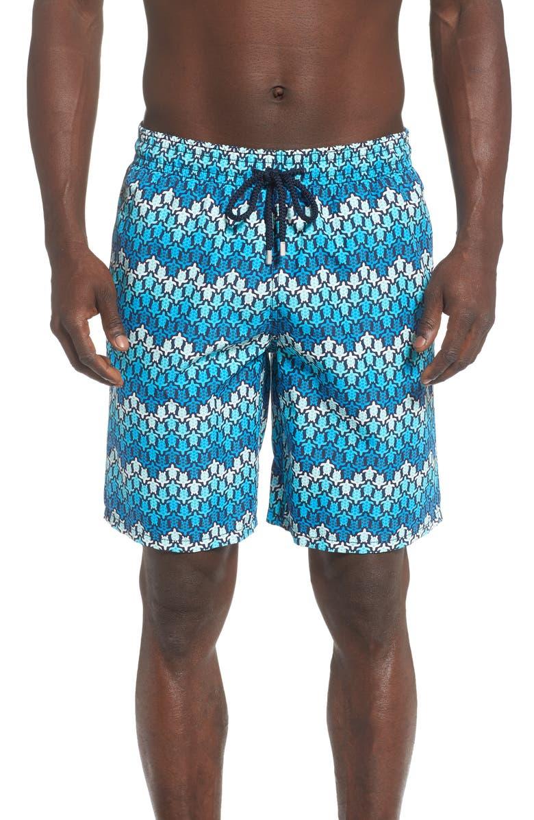 VILEBREQUIN Okoa Herringbone Turtles Swim Trunks, Main, color, BLEU MARINE