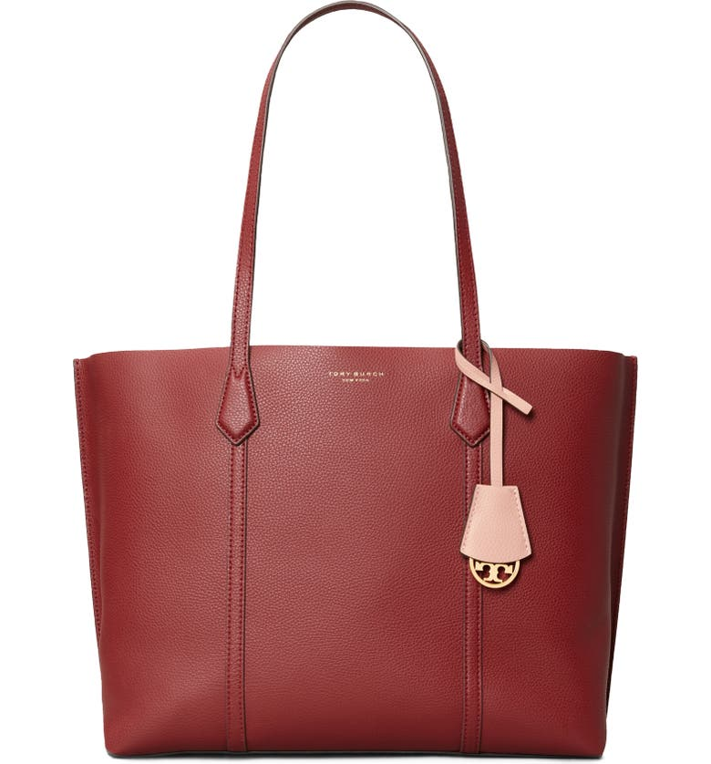TORY BURCH Perry Leather Tote, Main, color, TINTO