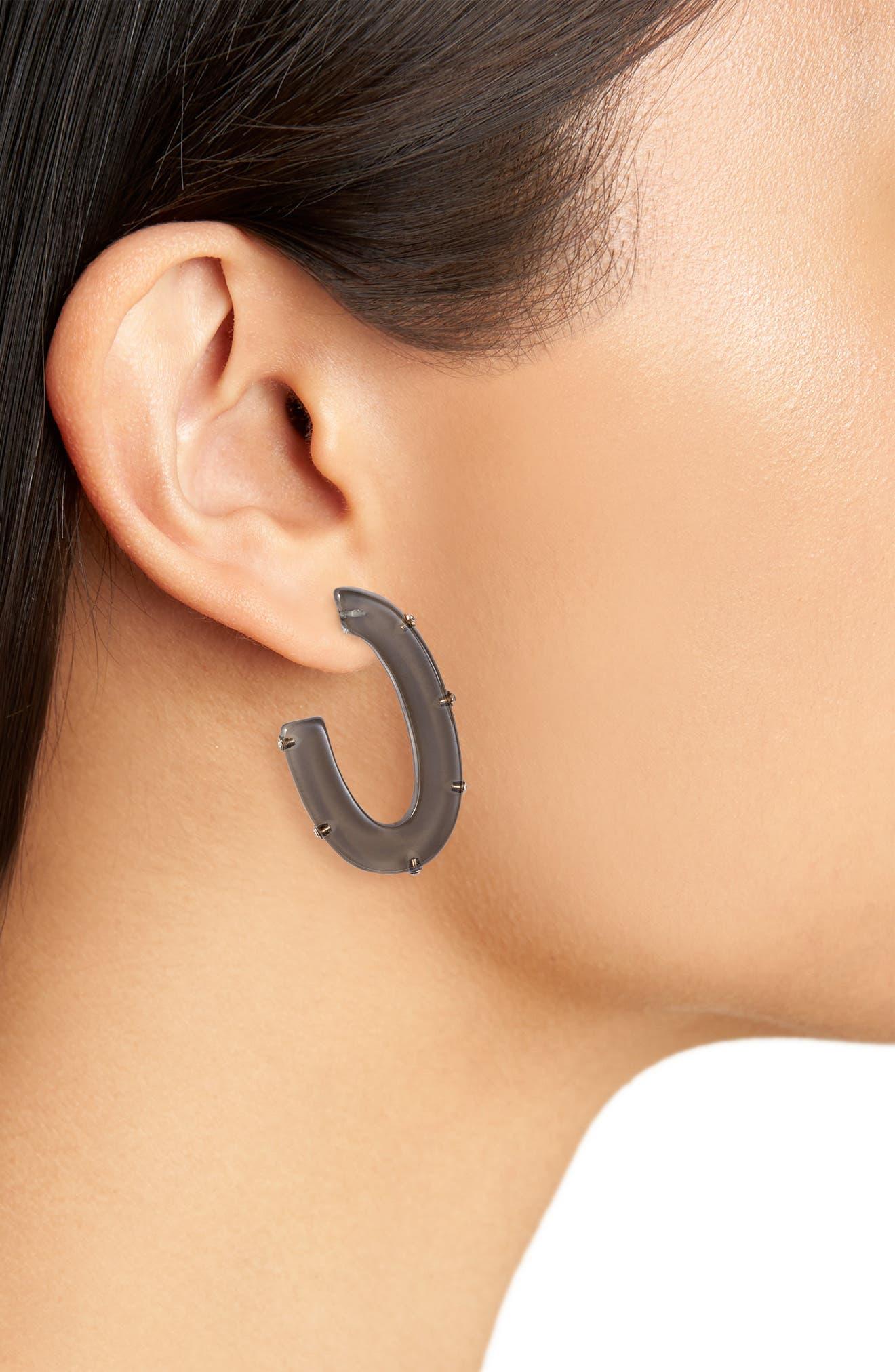 ,                             Bezel Front Hoop Earrings,                             Alternate thumbnail 2, color,                             BLACK- GOLD