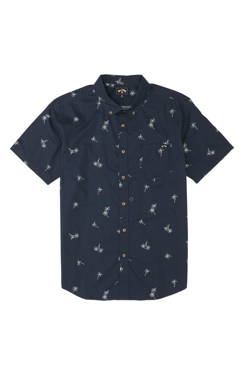 BILLABONG Sundays Short Sleeve Button-Down Shirt, Main, color, NAVY
