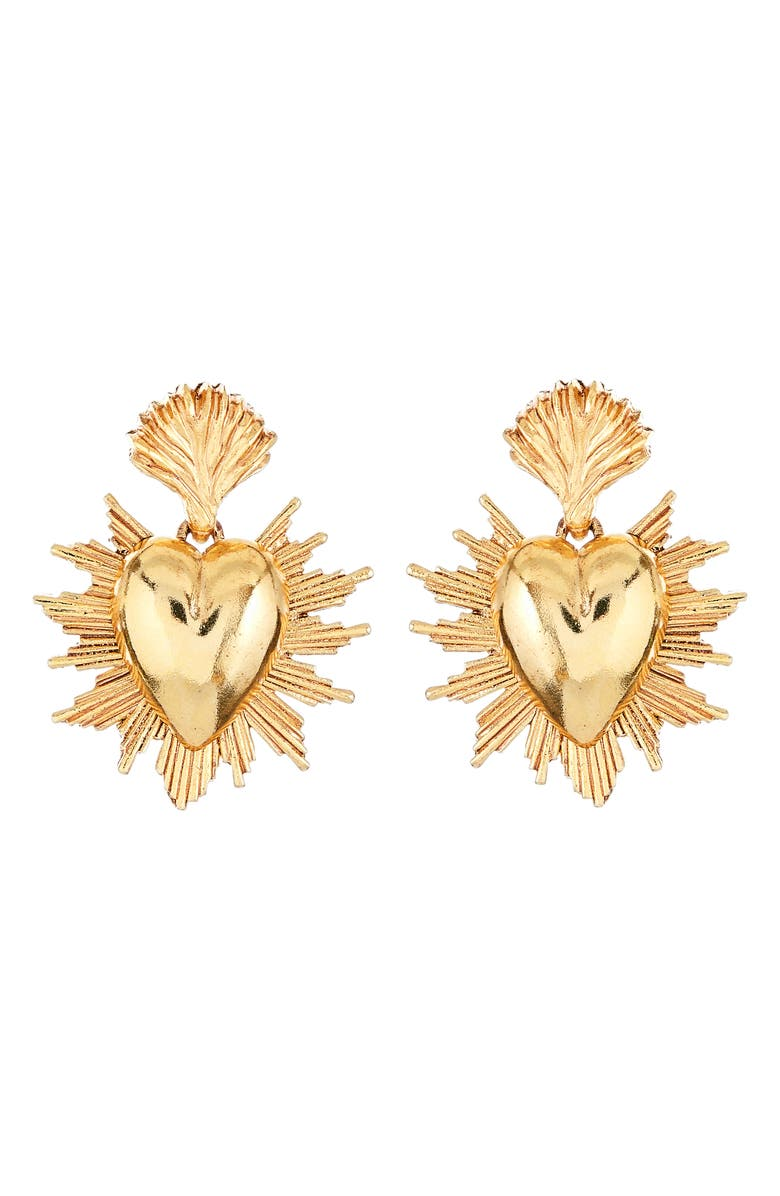 OSCAR DE LA RENTA Sacred Heart Earrings, Main, color, GOLD