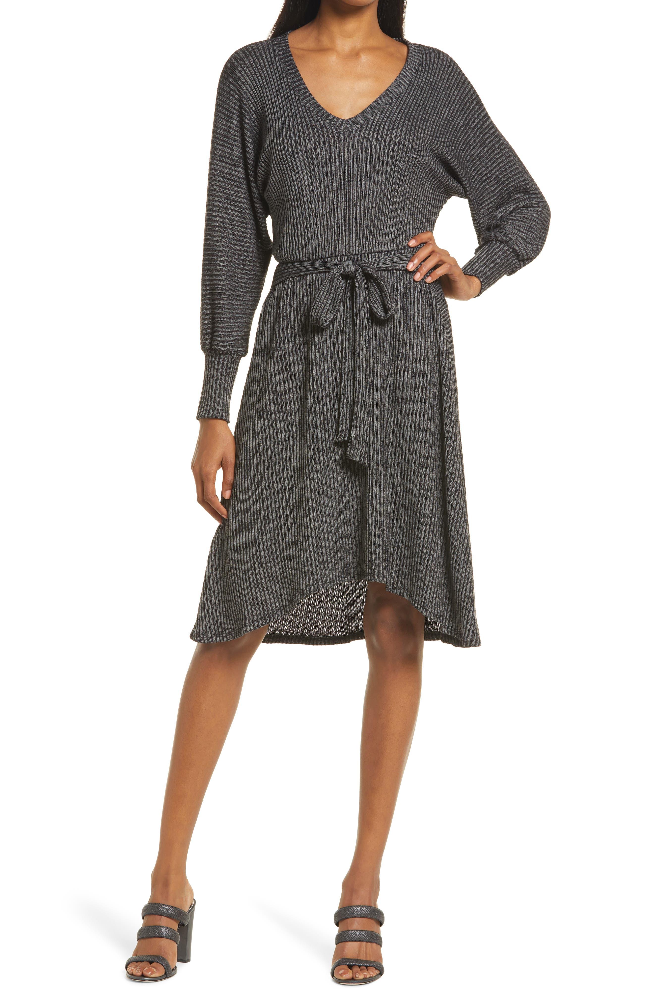 Ribbed Tie Waist High-Low Sweater Dress