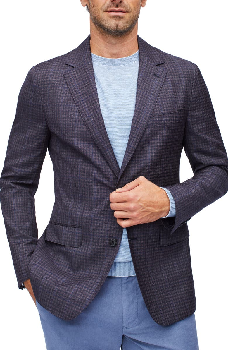 BONOBOS Unconstructed Slim Fit Wool Blazer, Main, color, BLUE AND PINK PLAID