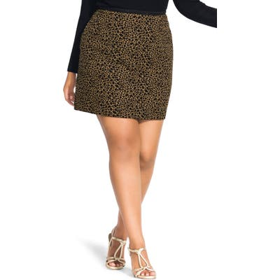 Plus Size City Chic Animal Print Skirt, Brown