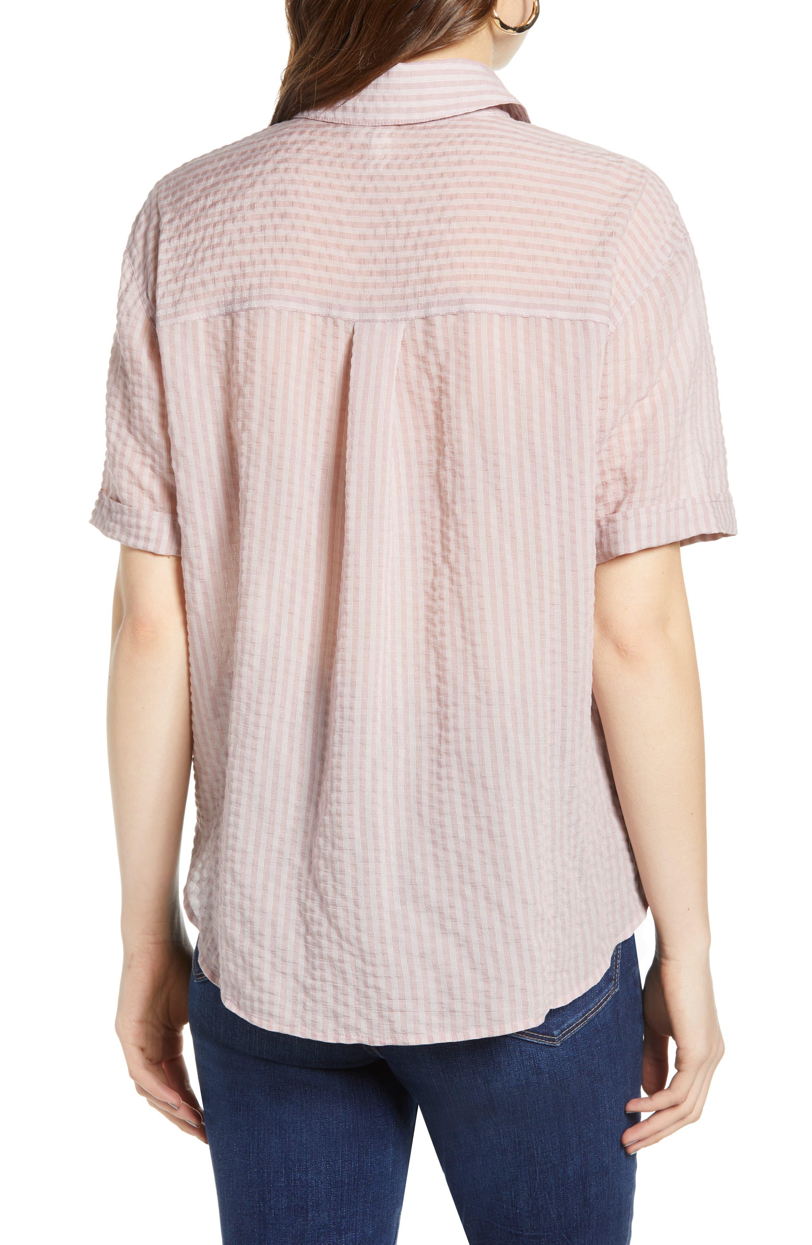 ,                             Stripe Short Sleeve Shirt,                             Alternate thumbnail 2, color,                             PINK CANYON CLOUD STRIPE