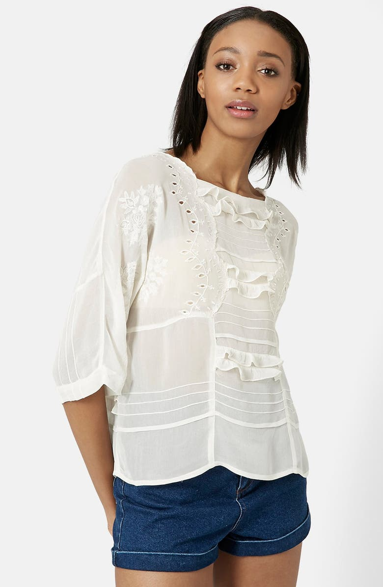 TOPSHOP Embroidered Frill Blouse, Main, color, 900