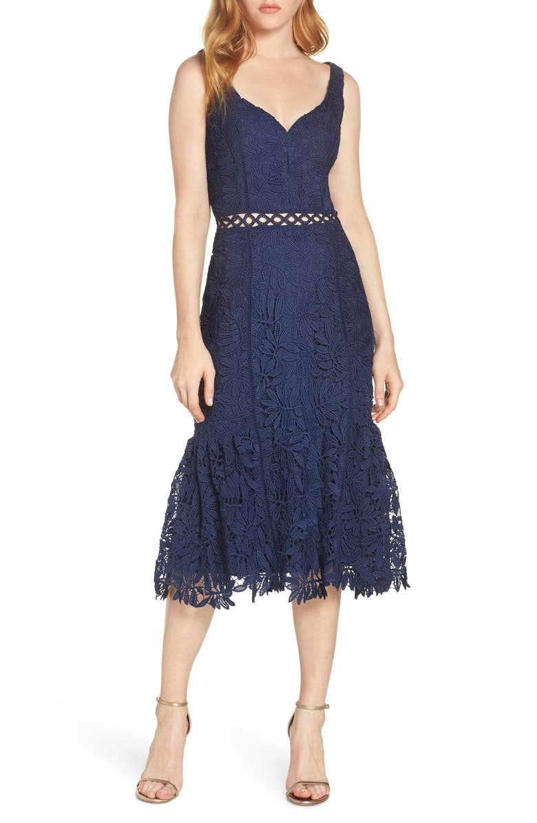 Harlyn Sweetheart Neck Lace Midi Dress Nordstrom