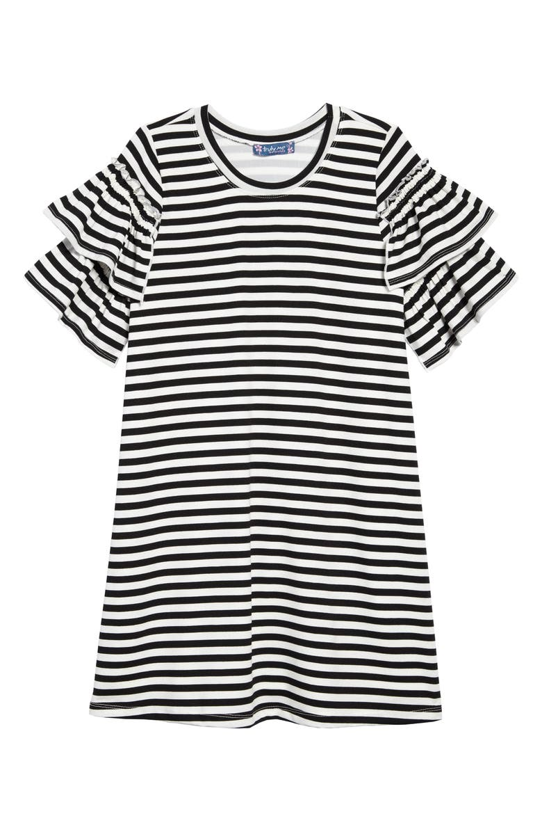 TRULY ME Stripe Ruffle Sleeve Dress, Main, color, BLACK/ WHITE