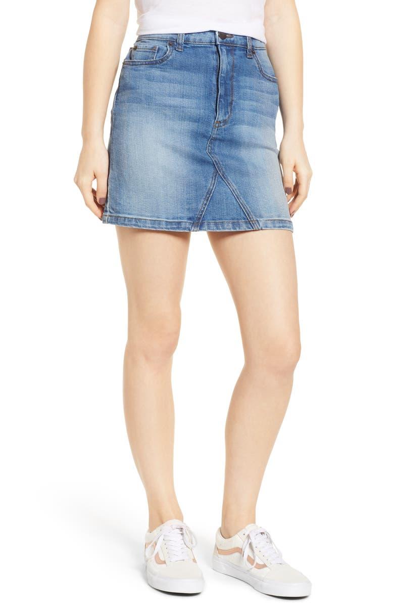 SWAT FAME STS Blue Meghan Denim Miniskirt, Main, color, GLENSIDE