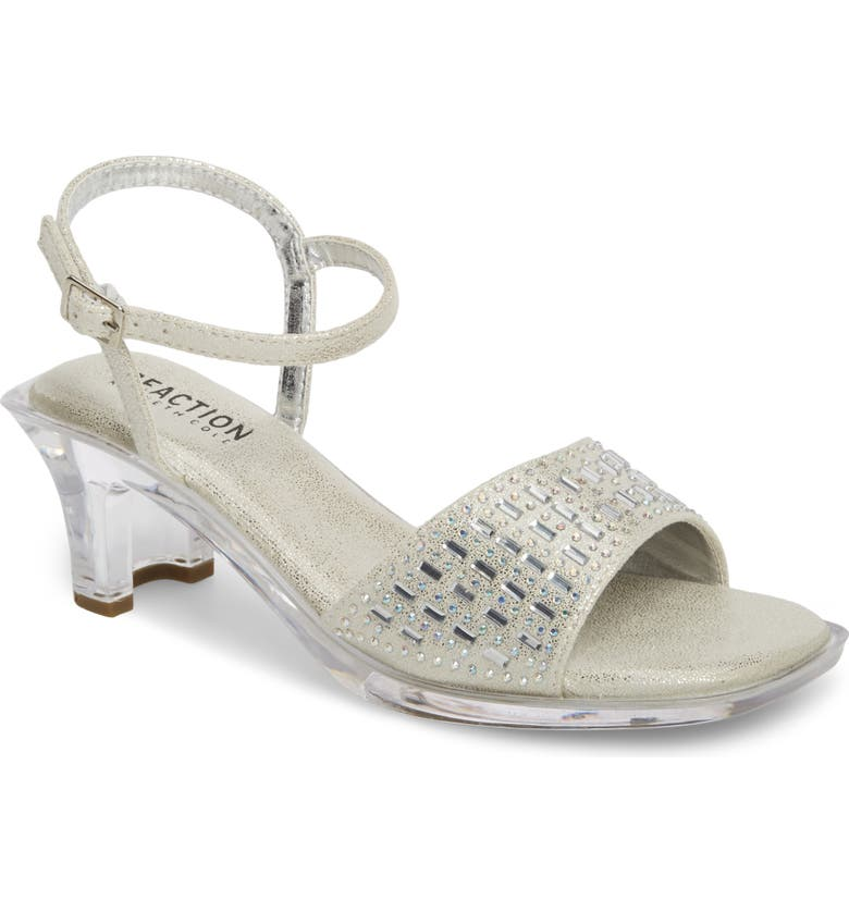 REACTION KENNETH COLE Cind-R-Ella Embellished Sandal, Main, color, SILVER