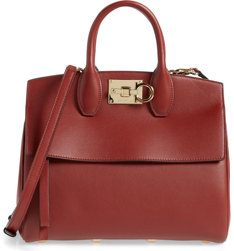 SALVATORE FERRAGAMO The Studio Piccolo Leather Top Handle Bag, Main, color, DARK PAPRIKA